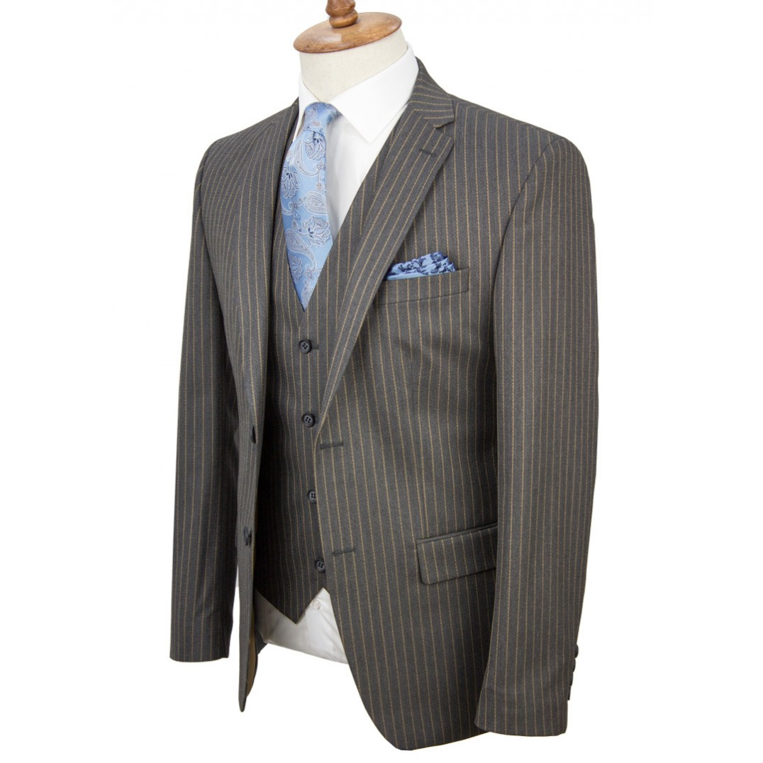 Brown Striped Antrasit Grey Vested Suit