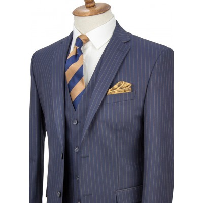 Bronze Striped Navy Blue Vested Suit