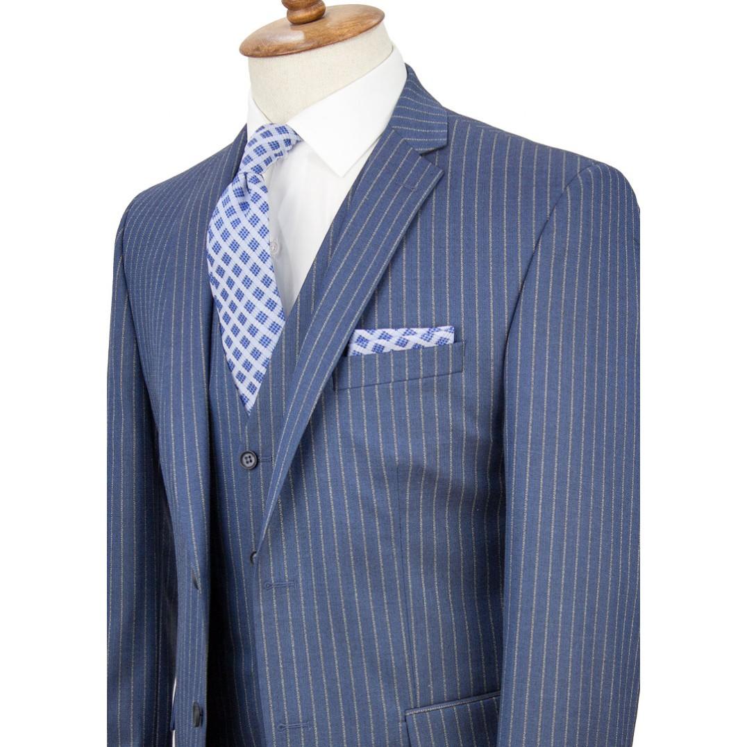 Bronze Striped Light Navy Blue Vested Suit