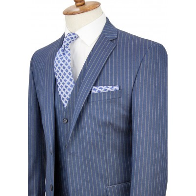 Bronze Striped Light Navy Blue Vested Suit