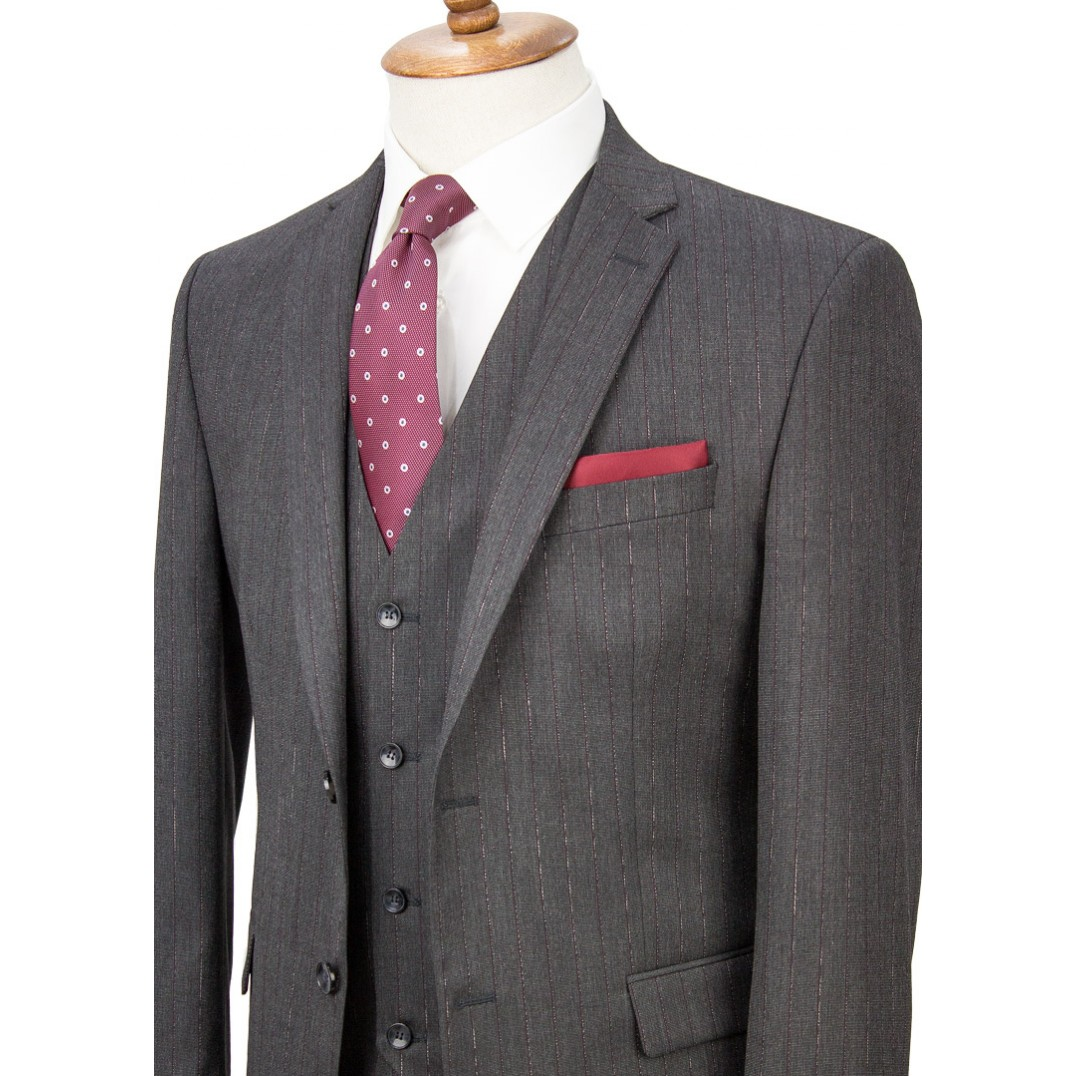 Maroon Striped Antrasit Grey Vested Suit