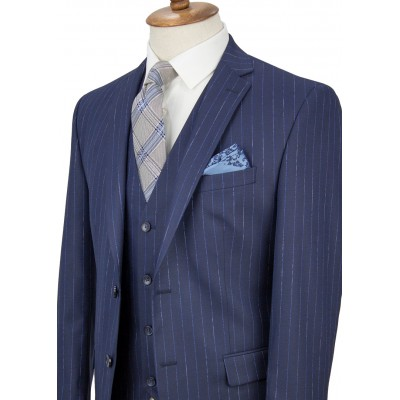 Blue Striped Navy Blue Vested Suit