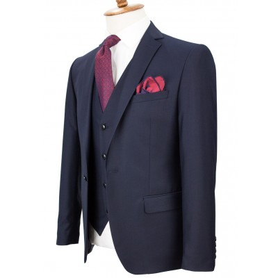 Dark Navy Blue Vested Suit