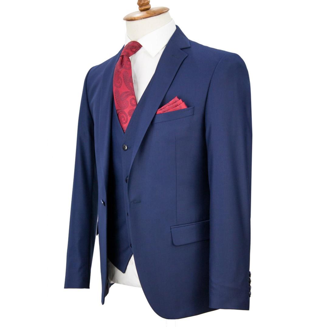 Navy Blue Vested Suit