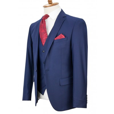 Navy Blue Vested Suit