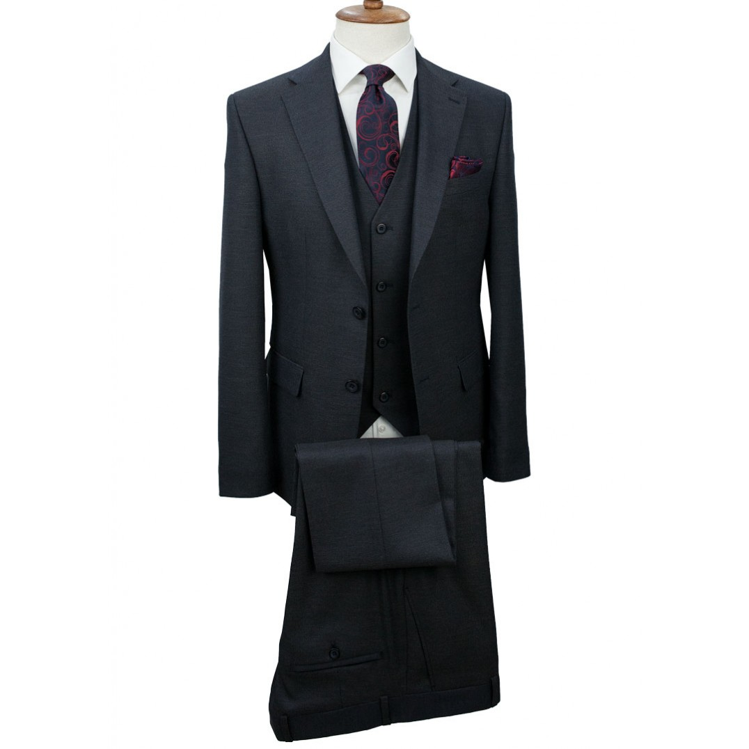 Dark Navy Blue Vested Suit