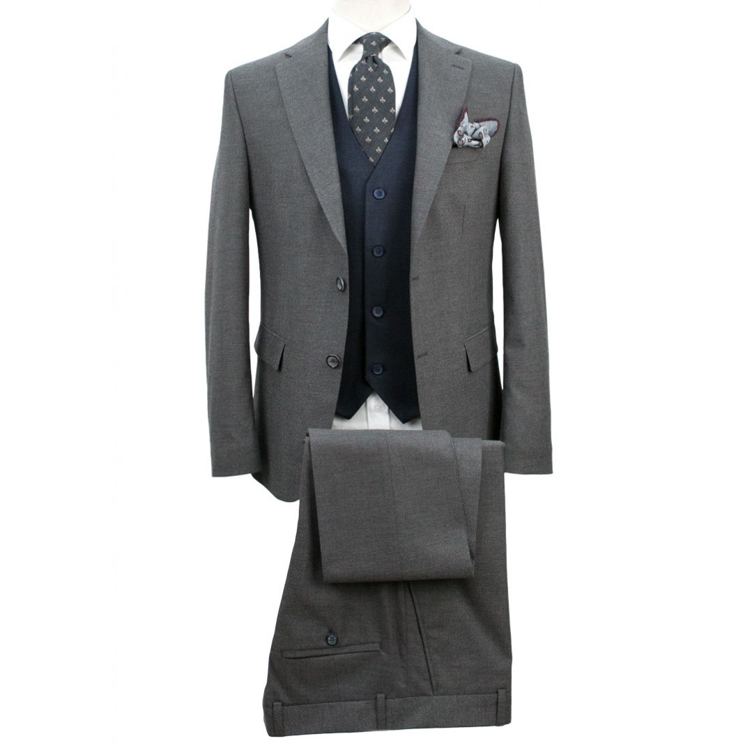 Grey Fabric Navy Blue Vested Suit