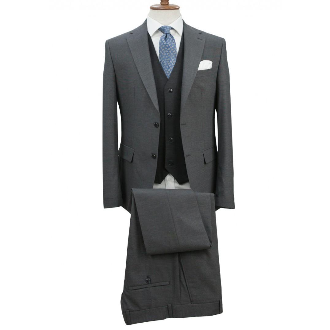 Dark Grey Fabric Navy Blue Vested Suit
