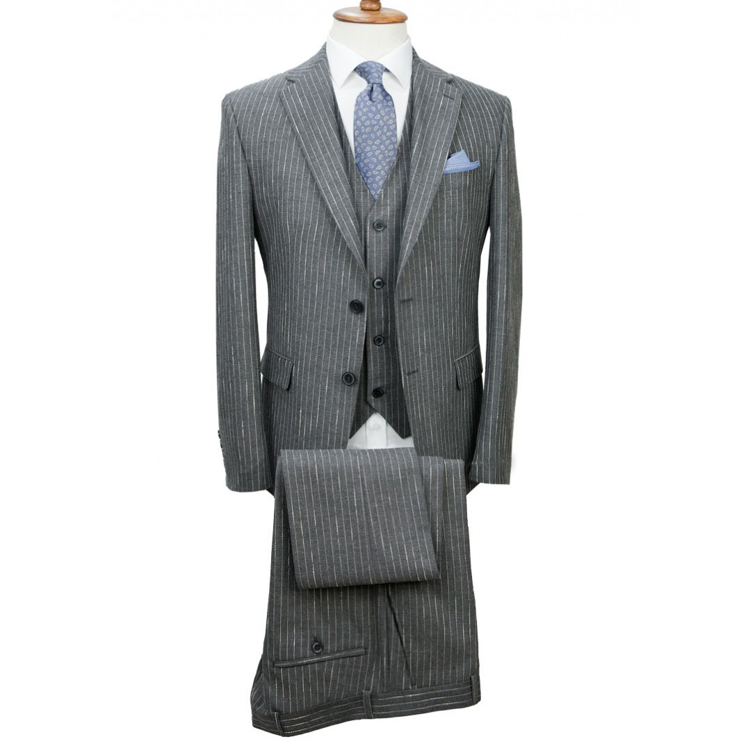 Grey - Striped Vested Suit