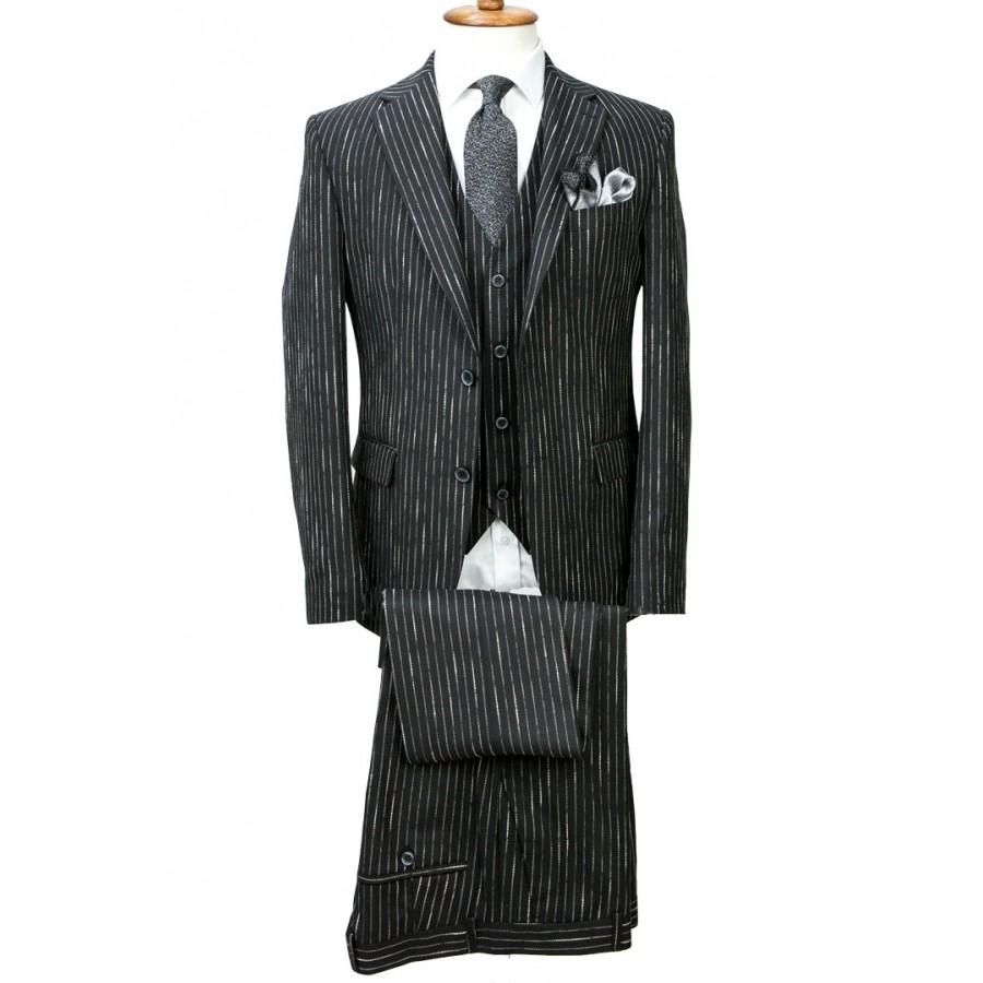 Black - Striped Vested Suit