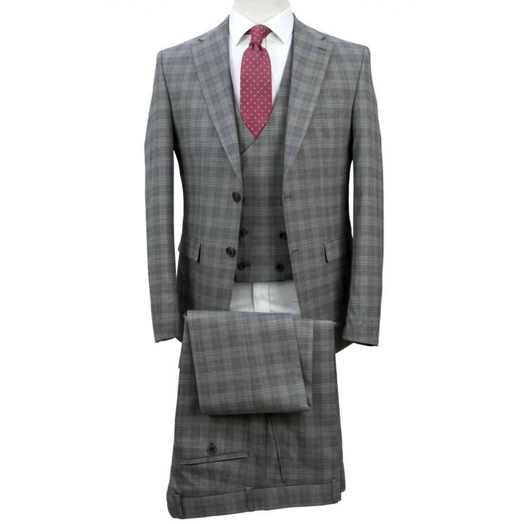 Grey - Plaid Vested Suit