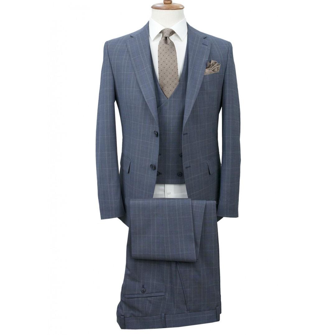 Navy Blue - Plaid Vested Suit