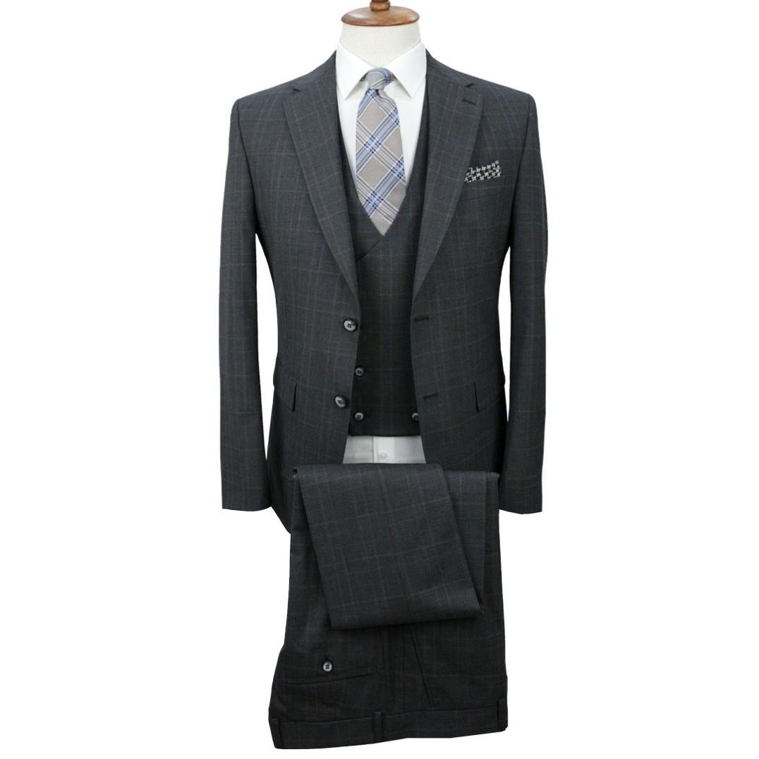 Dark Grey - Plaid Vested Suit