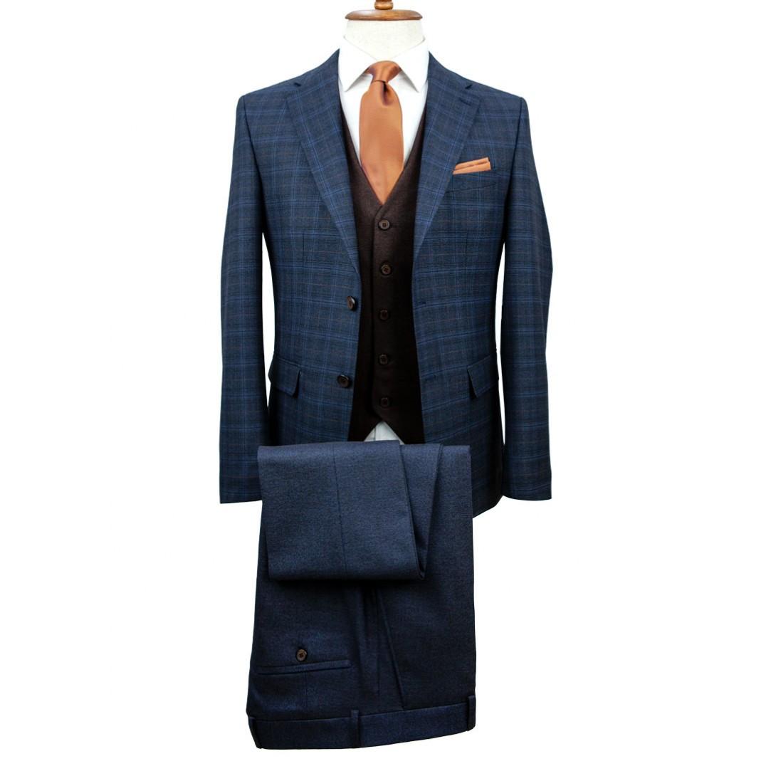 Brown Vested Plaid Navy Blue Suit