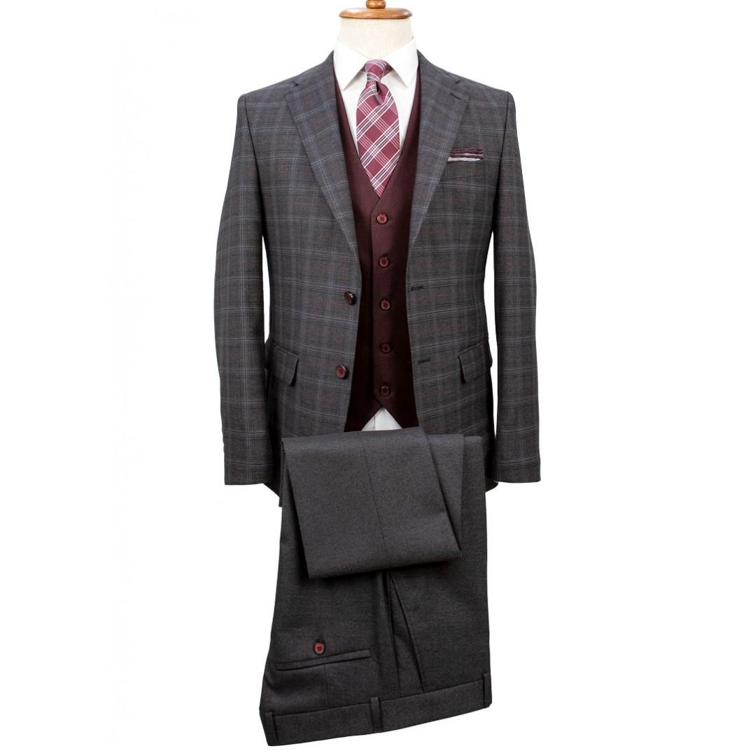 Maroon Vested Plaid Grey Suit