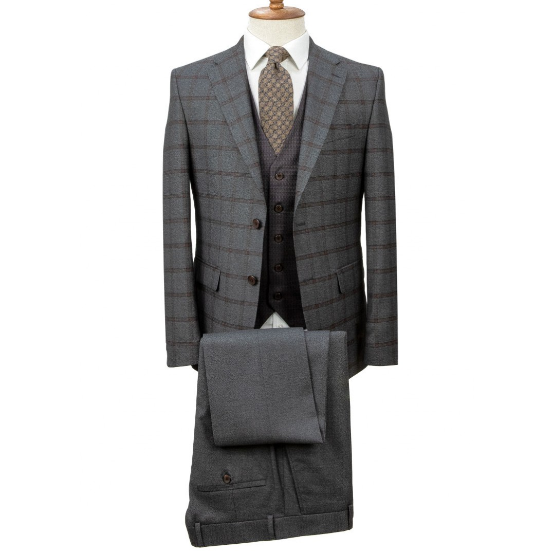 Birdseye Vested Plaid Grey Suit