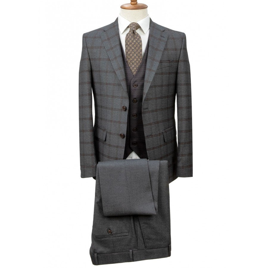 Birdseye Vested Plaid Grey Suit