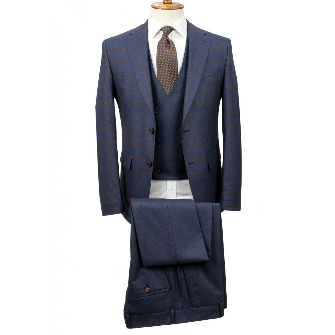 Brown Plaid Navy Blue Fabric Vested Suit