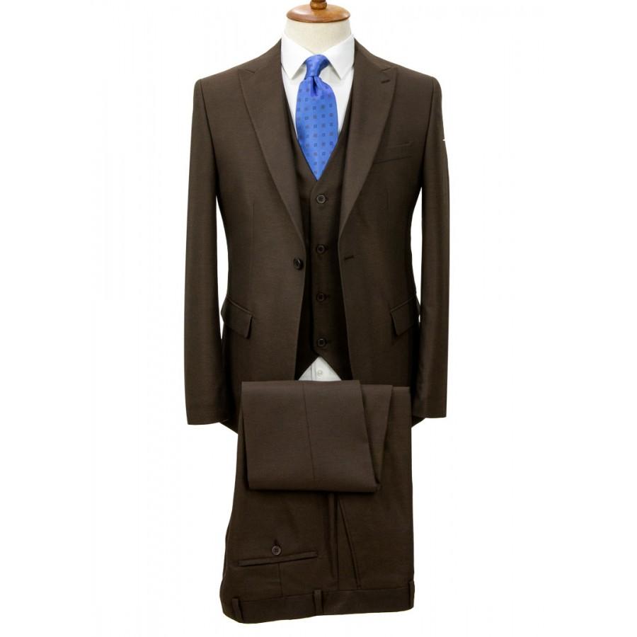 Birdseye Patterned Brown Vested Suit