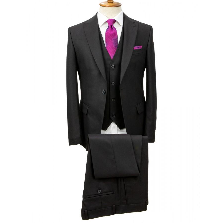 Birdseye Patterned Black Vested Suit