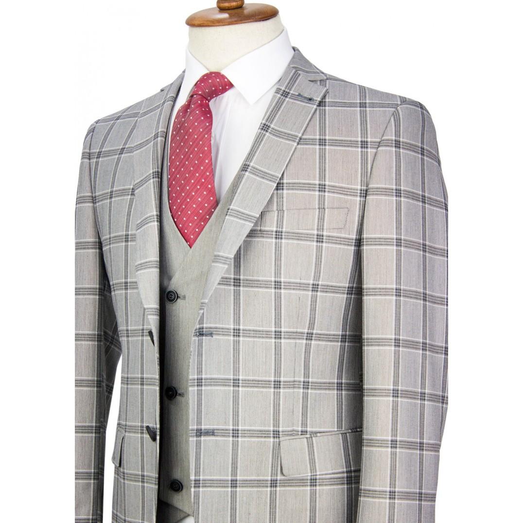 Grey Plaid Vested Suit