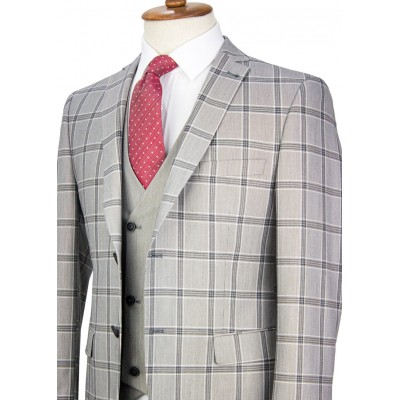 Grey Plaid Vested Suit