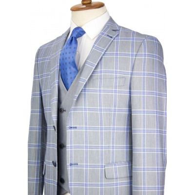 Blue Plaid Light Navy Vested Suit