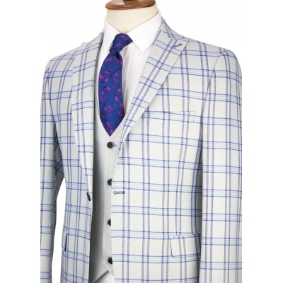 Blue Plaid Light Grey Vested Suit