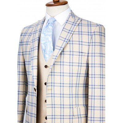 Blue Plaid Beige Vested Suit