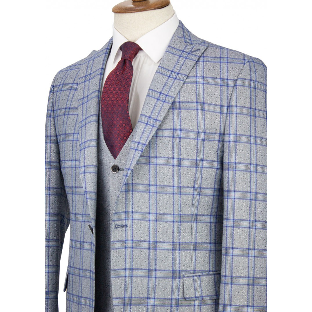 Navy Plaid Grey Vested Suit