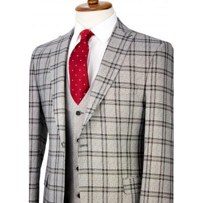 Black Plaid Antrasit Grey Vested Suit