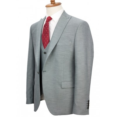 Micro Patterned Light Green Fabric Vested Suit