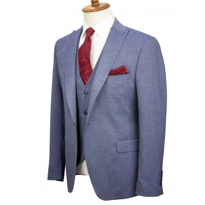 Micro Patterned Navy Fabric Vested Suit