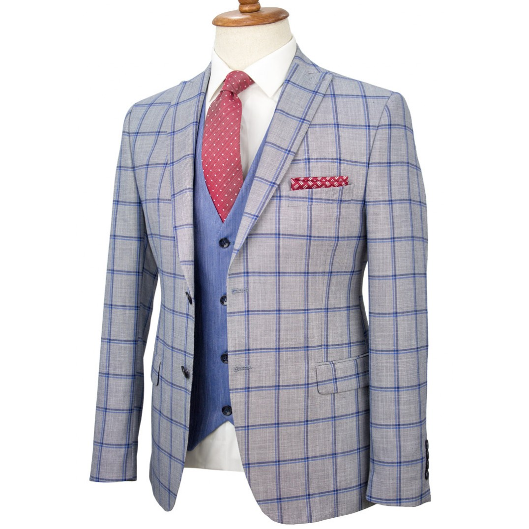 Navy Plaid Grey Fabric Vested Suit