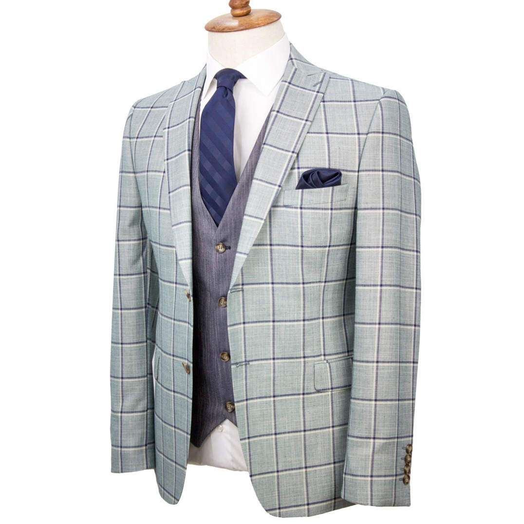 Navy Plaid Light Green Fabric Vested Suit