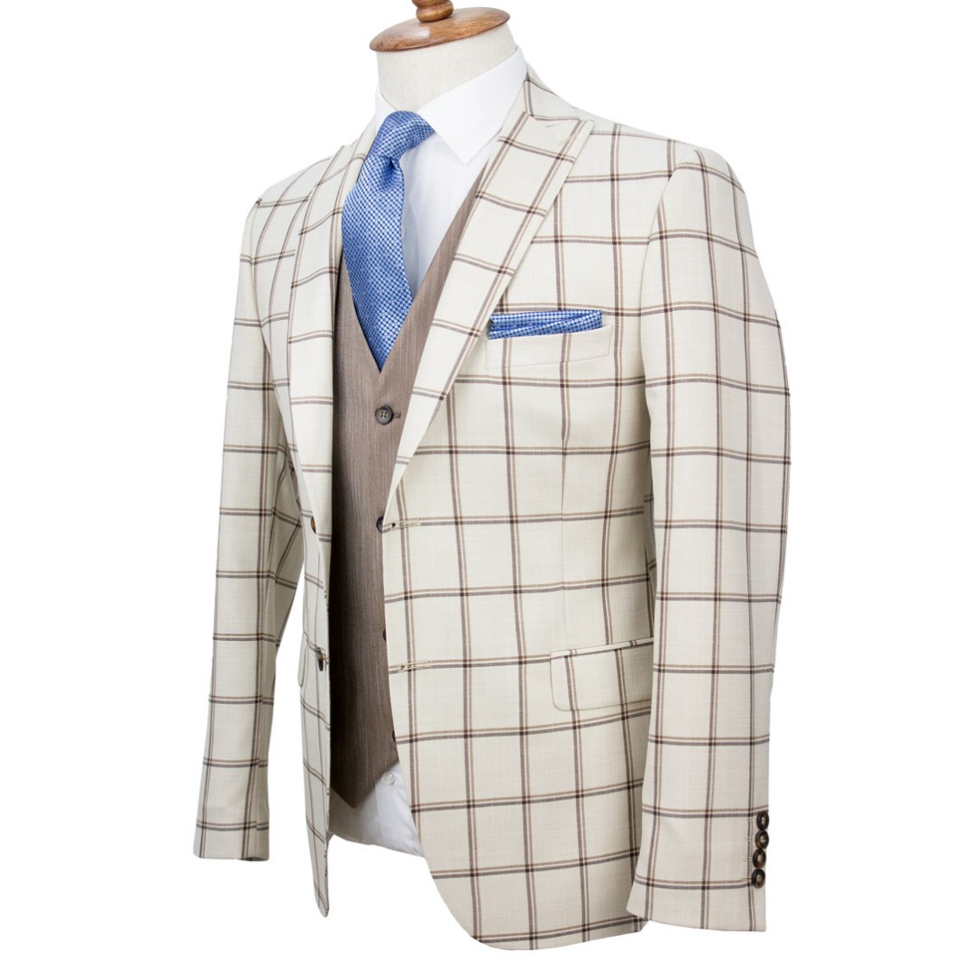 Brown Plaid Cream Fabric Vested Suit