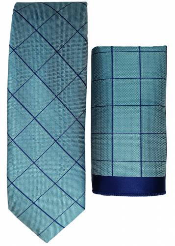 Navy Plaid Turquoise Tie and Handkerchief