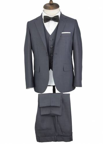Kids Grey Vested Suit