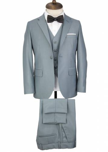 Kids Greyish Petroleum Green Vested Suit