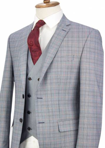 Red Striped Navy Plaid Vested Suit