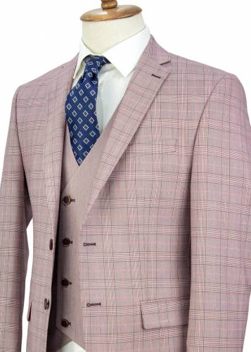 Claret-Red Striped Red Plaid Vested Suit