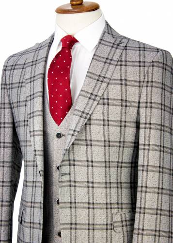 Black Plaid Antrasit Grey Vested Suit