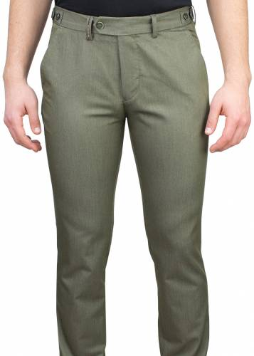 5 Pockets Micro Patterned Green Casual Trousers