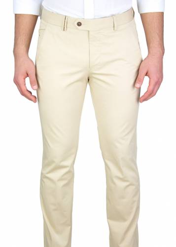 Cream 5 Pockets Casual Trousers