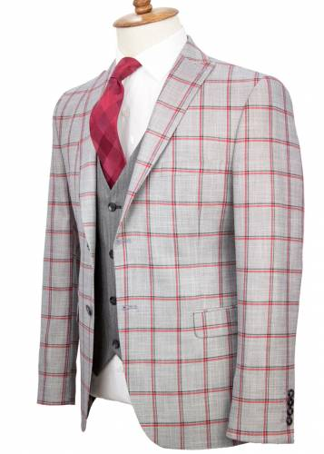 Red Plaid Grey Fabric Vested Suit