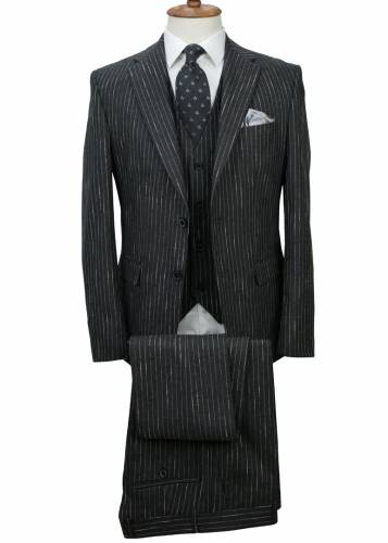 Dark Grey - Striped Vested Suit
