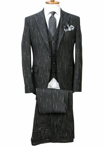 Black - Striped Vested Suit