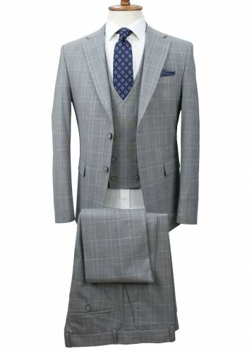 Grey - Plaid Vested Suit
