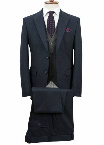 Navy Blue Fabric and Grey Vested Suit