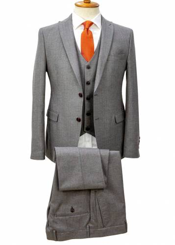 Brown Striped Grey Vested Suit
